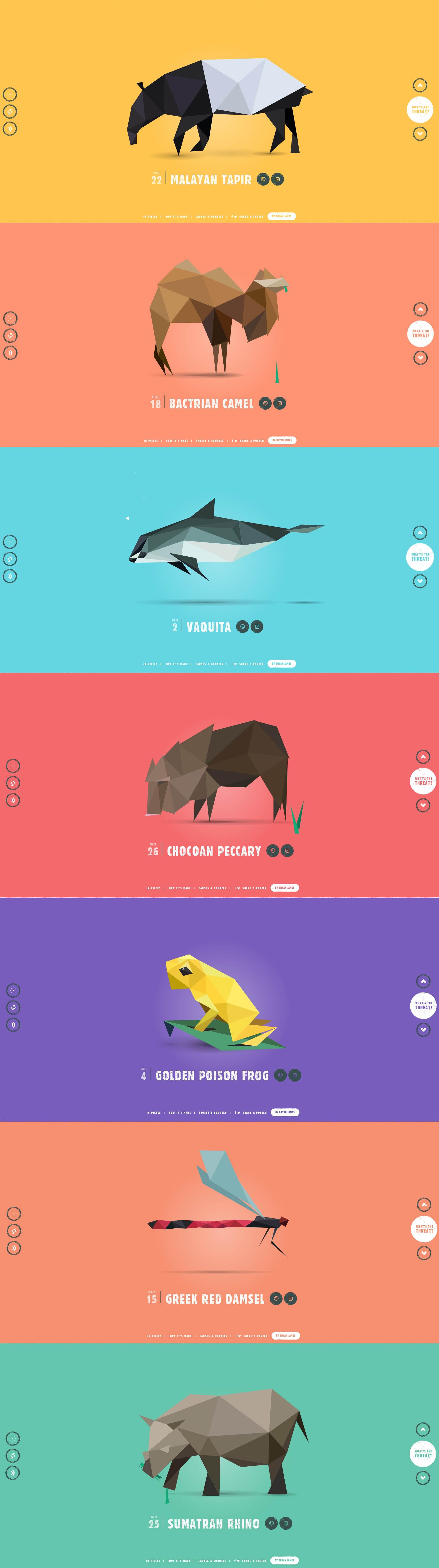栩栩如生的几何图形演变组成的动物html5酷站!里面有