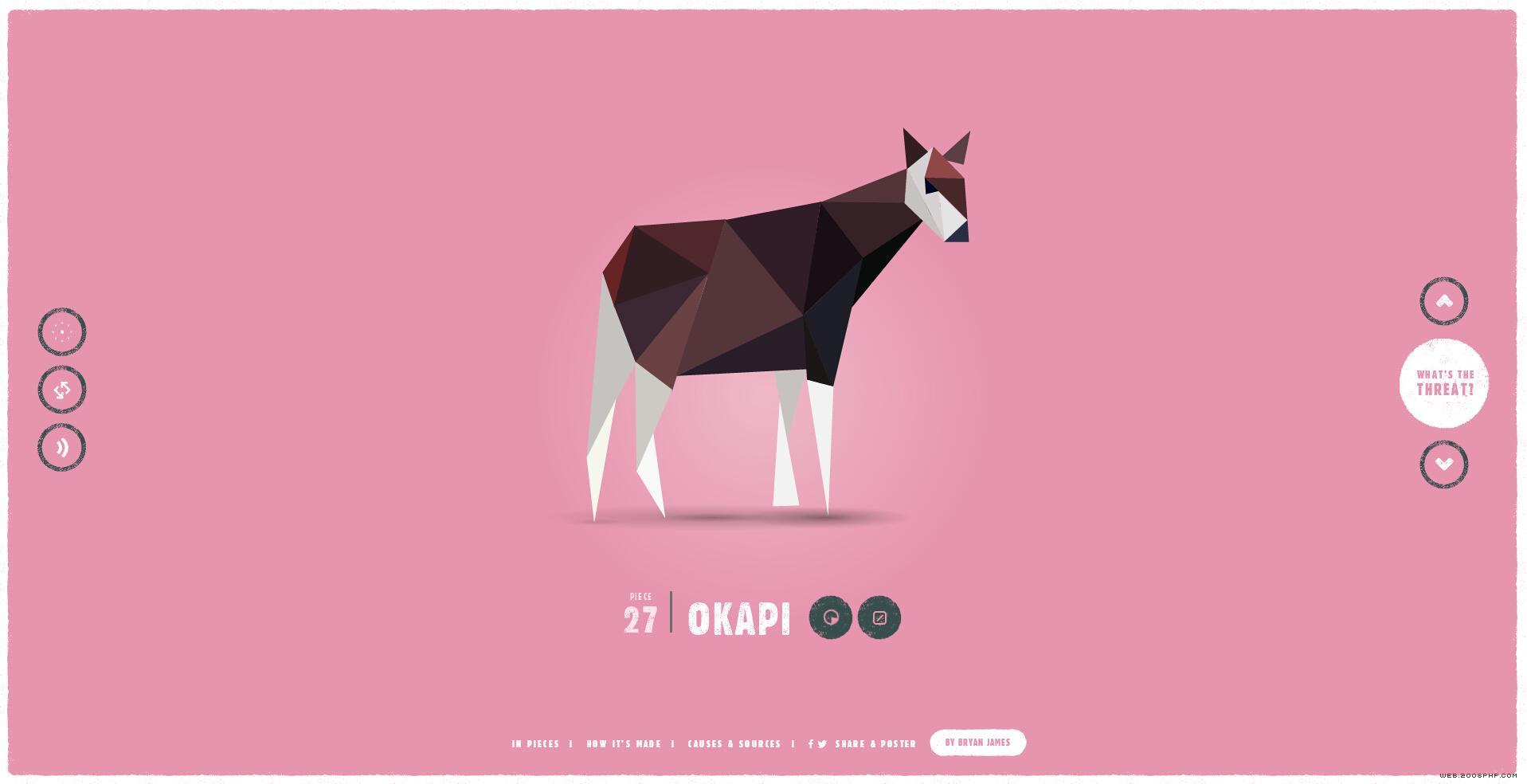 栩栩如生的几何图形演变组成的动物html5酷站!