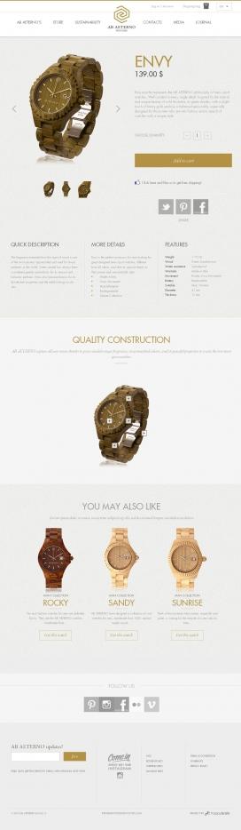 男士运动木制手表设计-灵感来自大自然!瑞士AB AETERNO手表展示酷站,典型的欧式下拉排版设计。简单大气。